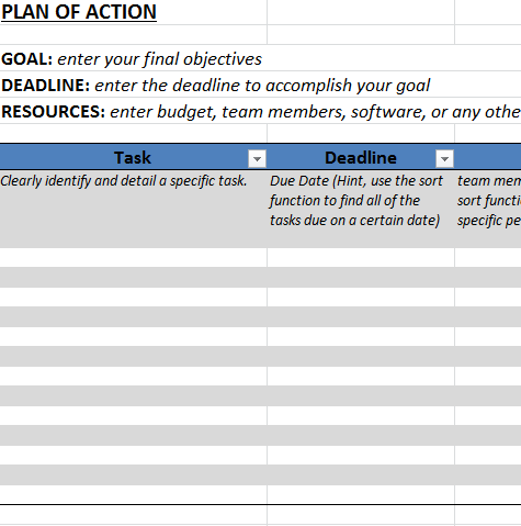 Action plan template in excel business templates for Hospital action plan template